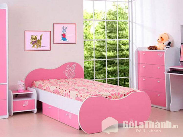 giường ngủ tự lắp ráp trẻ em bằng nhựa màu hồng