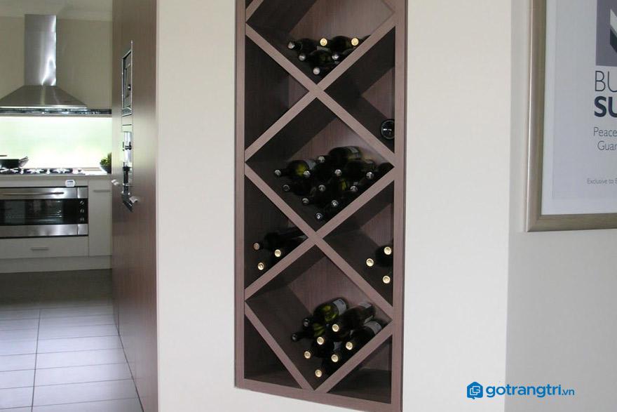 Mẫu tủ rượu âm tường độc đáo cho phòng khách