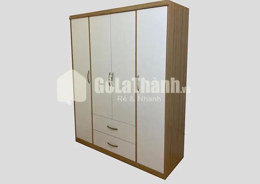 tủ áo gỗ công nghiệp 4 cánh trắng 2 ngăn kéo