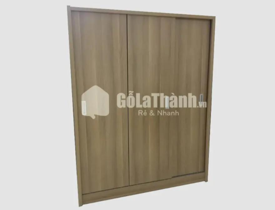 tủ quần áo gỗ cánh trượt giá rẻ 2 cánh màu nâu