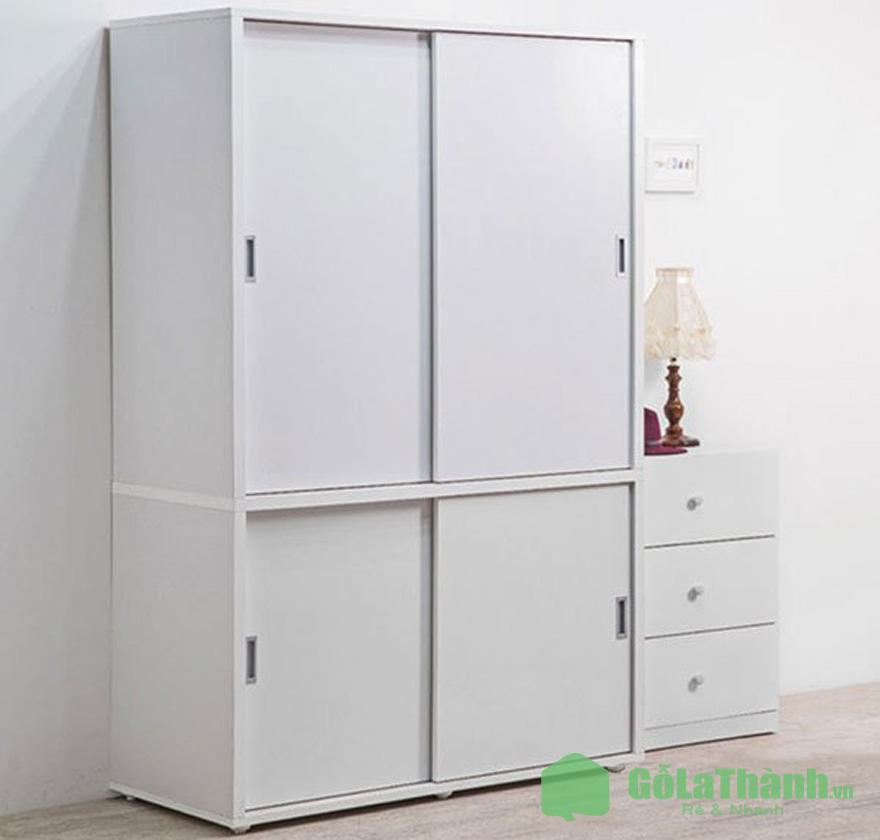 tủ quần áo cửa lùa giá rẻ 2 cánh chia 2 ngăn ngang