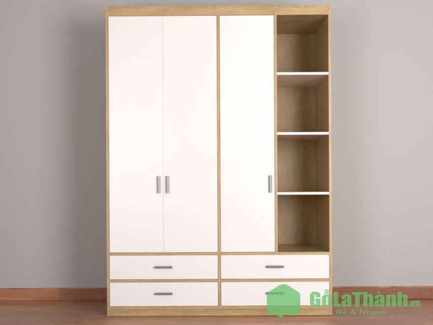 tủ quần áo gỗ 3 cánh phối nhiều ngăn nhỏ