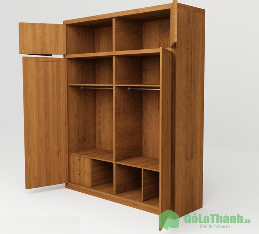 tủ gỗ 2 cánh mở nhiều ngăn