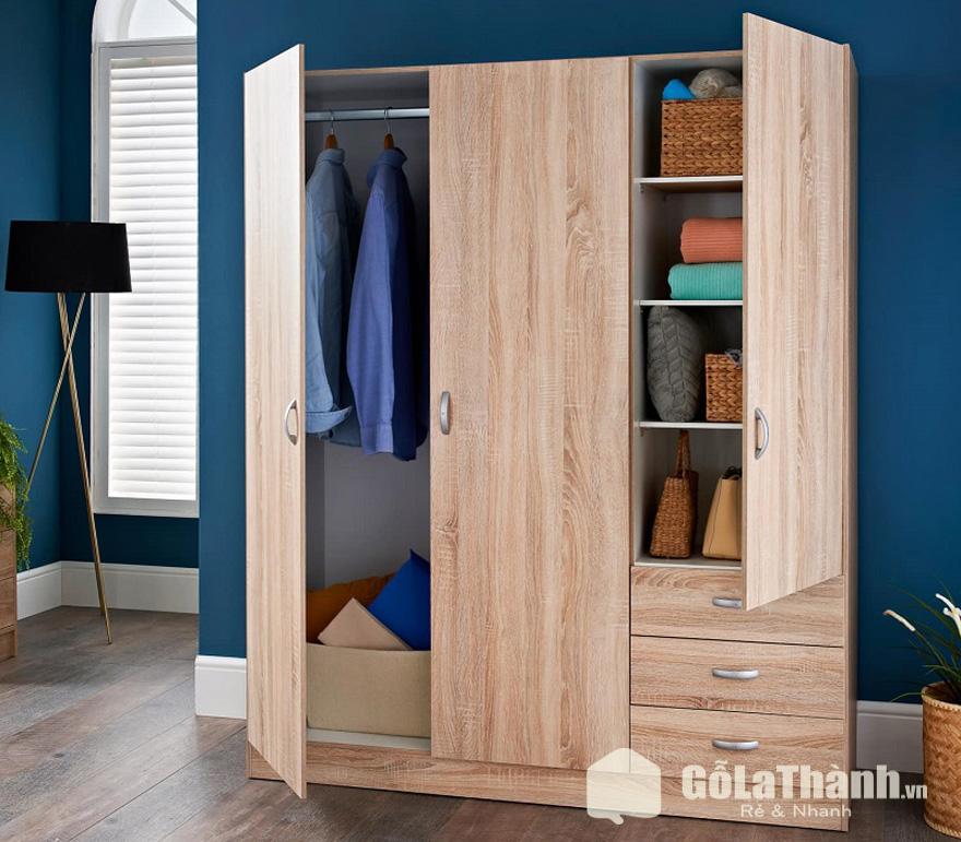 tủ quần áo 3 cánh mở nhiều ngăn 3 ngăn kéo