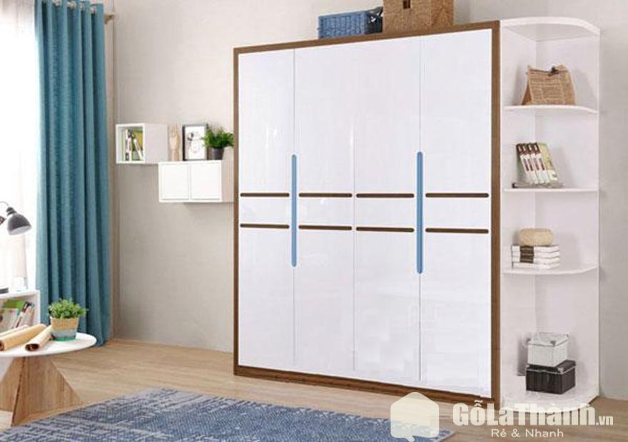 tủ gỗ công nghiệp giá rẻ 4 cánh mở màu trắng viền nâu, kết hợp kệ để đồ bên phải