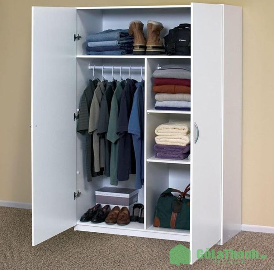 tủ quần áo gỗ công nghiệp 2 cánh mở nhiều ngăn