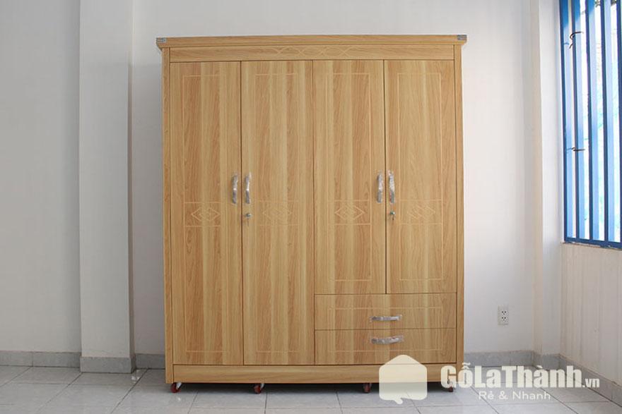 tủ gỗ công nghiệp 4 cánh 2 ngăn kéo