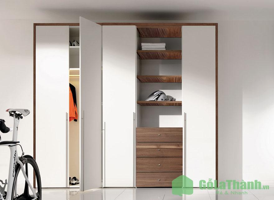 tủ 4 cánh mở 2 khoang có nhiều ngăn để đồ