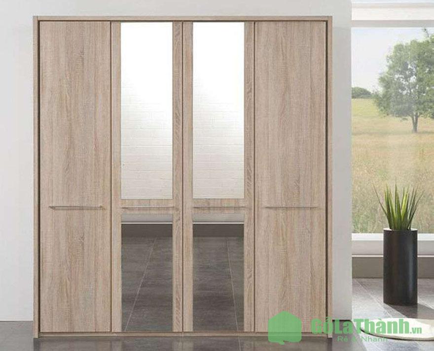tủ quần áo gỗ công nghiệp màu gỗ tự nhiên 4 cánh có gương