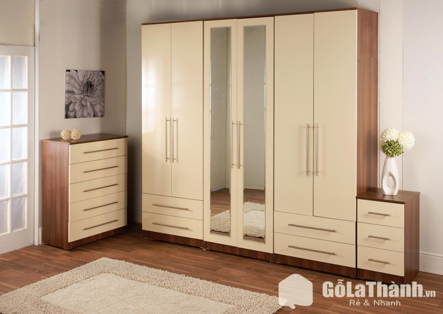 tủ áo gỗ 6 cánh, 4 ngăn có gương
