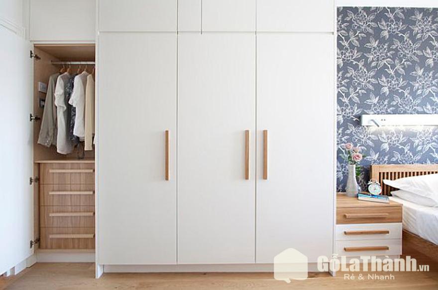 tủ gỗ 3 cánh trắng