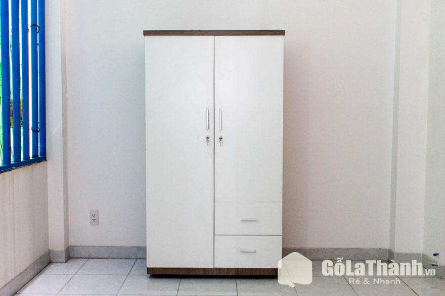 tủ quần áo gỗ công nghiệp tphcm 2 cánh trắng có hai ngăn