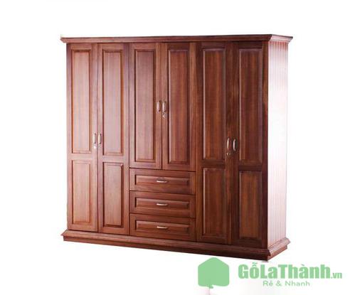 tủ quần áo gỗ 6 cánh kích thước lớn