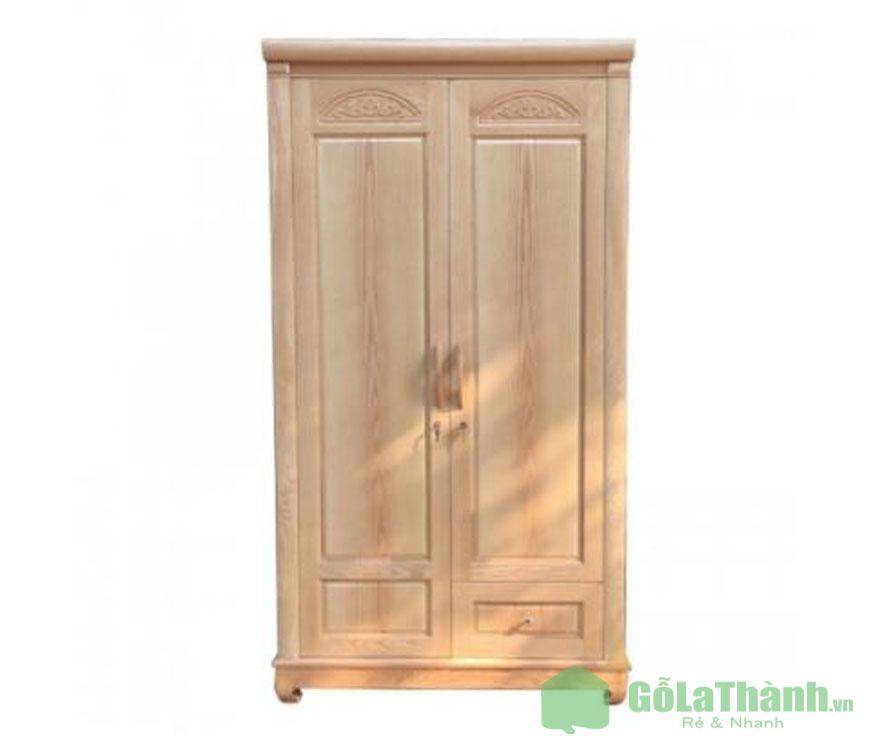 tủ quần áo gỗ tự nhiên 2 cánh mở
