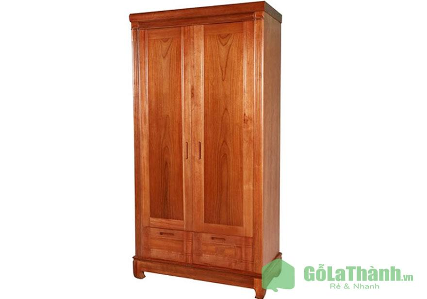 tủ quần áo gỗ tự nhiên 2 cánh màu nâu đậm