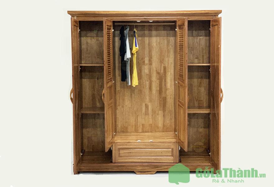 tủ quần áo gỗ 4 cánh mở nhiều ngăn