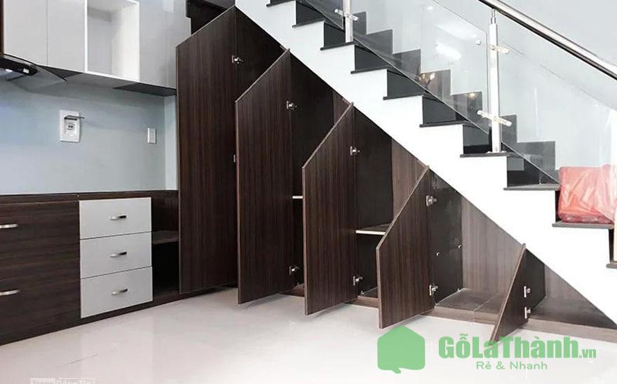 tủ gầm cầu thang 5 ngăn 5 cánh mở