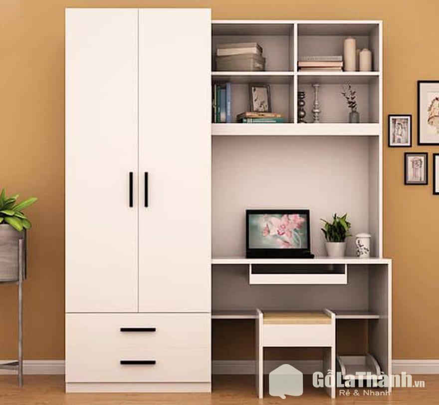 tủ quần áo tích hợp bàn làm việc gỗ màu trắng