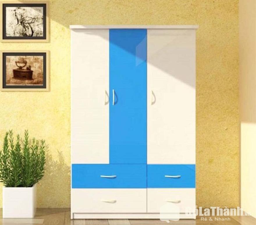 tủ mini 3 cánh mở 4 ngăn kéo bằng nhựa phối 2 màu xanh dương và trắng