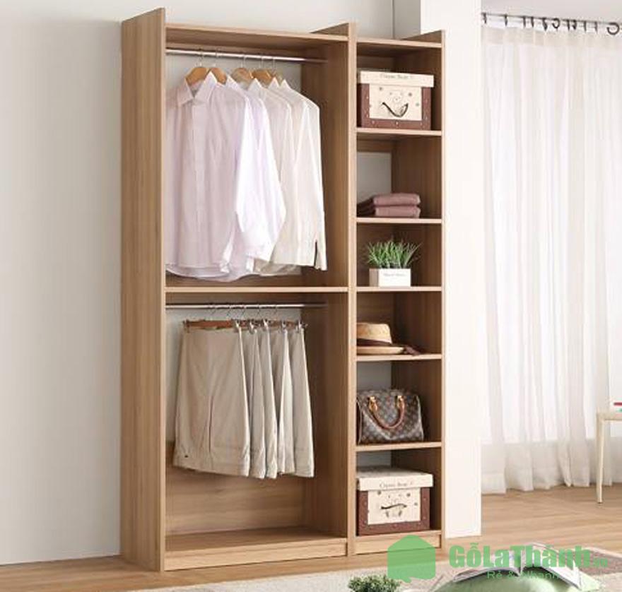 tủ gỗ không cánh gỗ 2 ngăn treo ngang to và 6 ngăn nhỏ