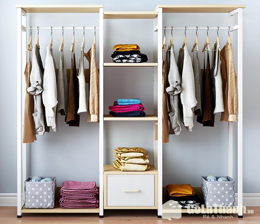 tủ quần áo không cánh nhiều ngăn bằng gỗ
