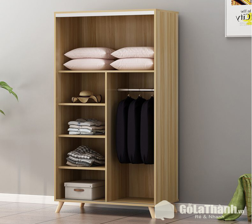 Tủ treo áo có 1 ngăn treo và 3 ngăn để đồ
