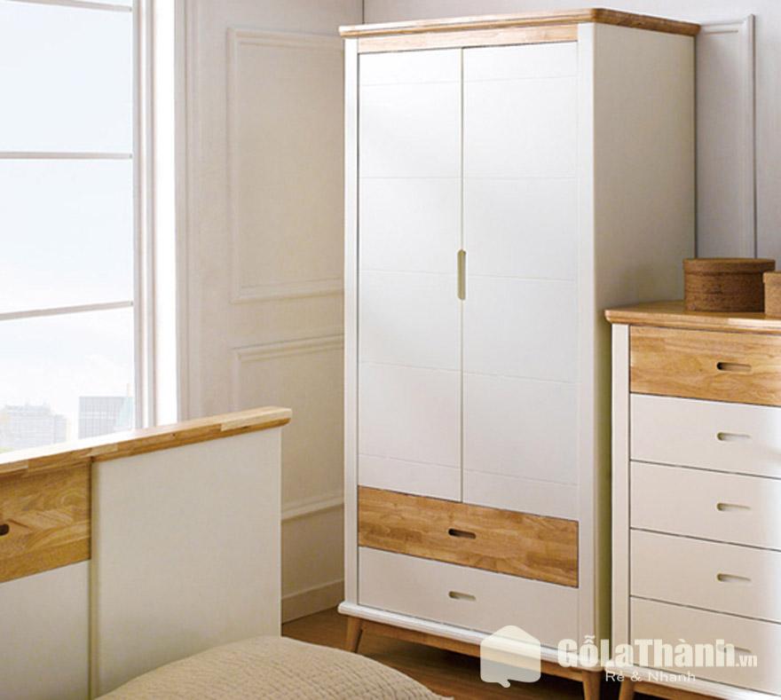 tủ quần áo gỗ 2 cánh mở sơn màu trắng, 2 ngăn kéo trắng và nâu