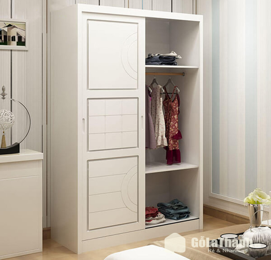 tủ quần áo mini giá rẻ màu trắng 3 ngăn cánh trượt