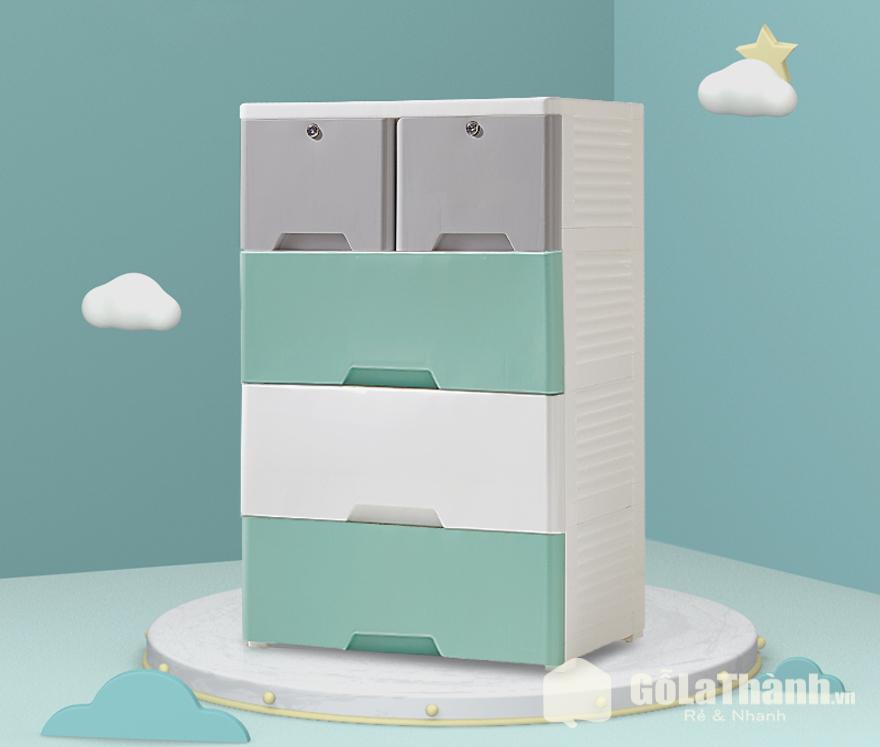 tủ quần áo nhựa 5 ngăn kéo phối màu xanh, xám và trắng