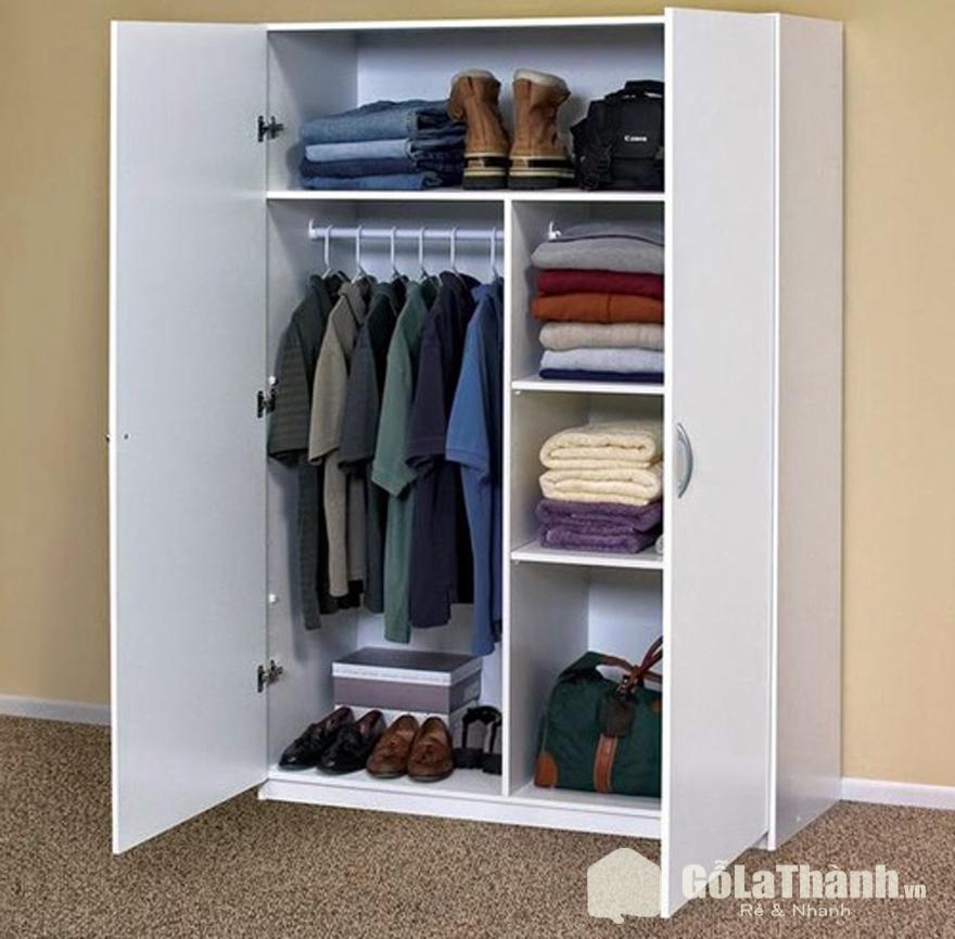 tủ quần áo nhỏ gọn giá rẻ màu trắng, cánh mở, nhiều ngăn
