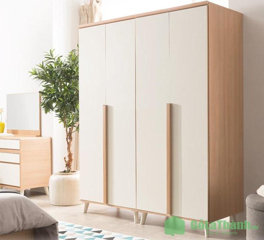 tủ quần áo nhỏ gọn giá rẻ gỗ cánh mở màu trắng