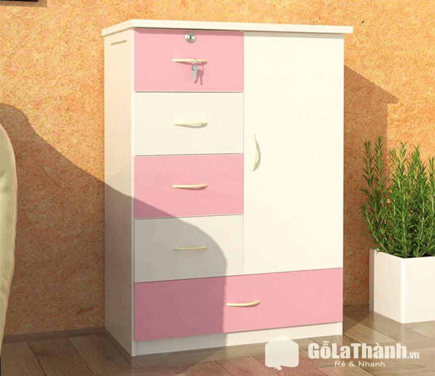tủ áo nhựa 1 cánh mở, 5 ngăn, phối trắng và hồng