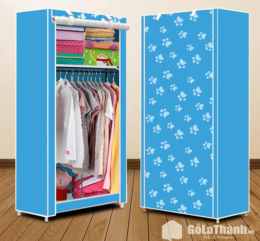 tủ vải màu xanh dương có họa tiết