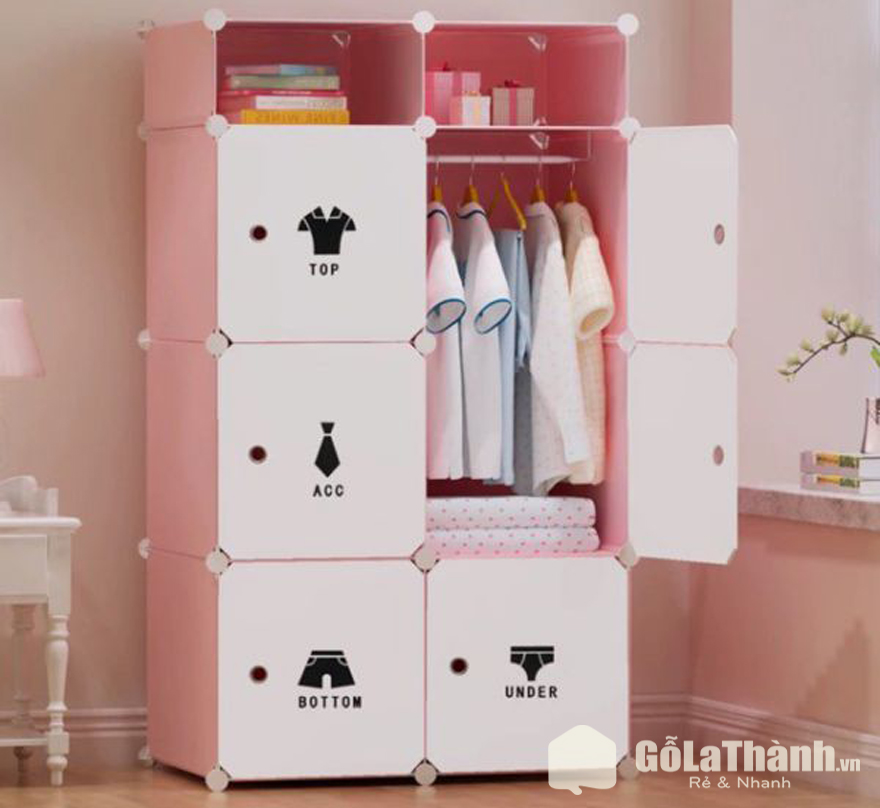 tủ quần áo nhựa 6 ô vuông màu hồng họa tiết trang trí đen