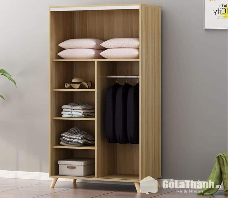tủ quần áo sinh viên giá rẻ bằng gỗ không cánh nhiều ngăn màu nâu nhạt
