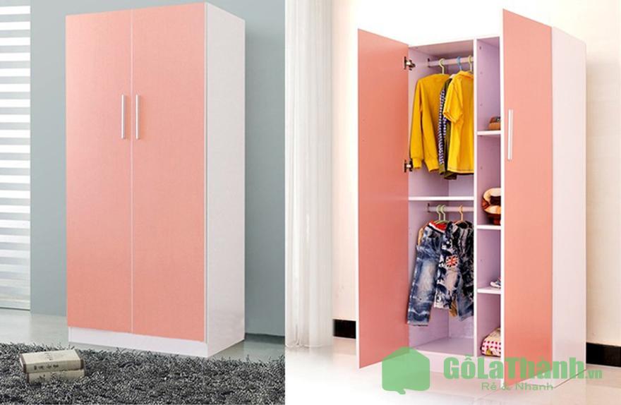 tủ quần áo màu hồng phối trắng 2 cánh mở nhiều ngăn